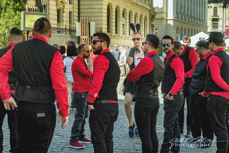 Tutu Groom and bridegroomsmen, Bucharest Old City