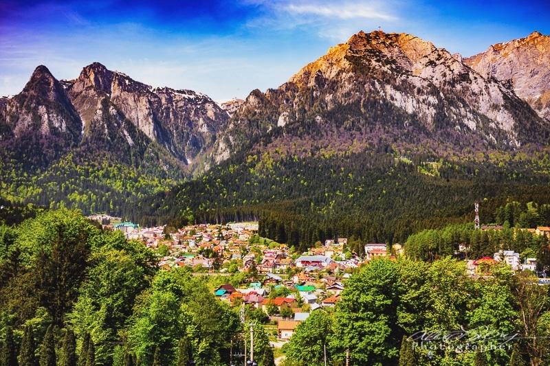 View of Carpathian Mountains, Peles Castle, in Sinaia near Brasov